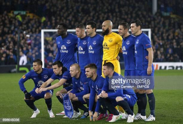 Back Row Romelu Lukaku Ross Barkley Antolin Alcaraz Everton goalkeeper Tim Howard Phil Jagielka and Gareth Barry Front Row Kevin Mirallas Seamus...