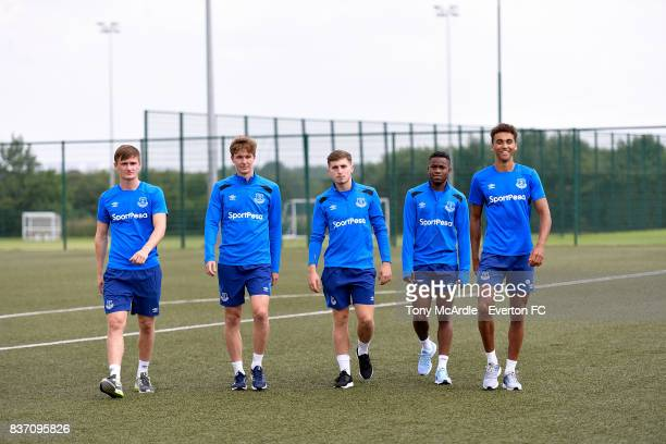 Everton U20 World Cup winners Callum Connolly Kieran Dowell Jonjoe Kenny Ademola Lookman and Dominic CalvertLewin pose for a photo at USM Finch Farm...