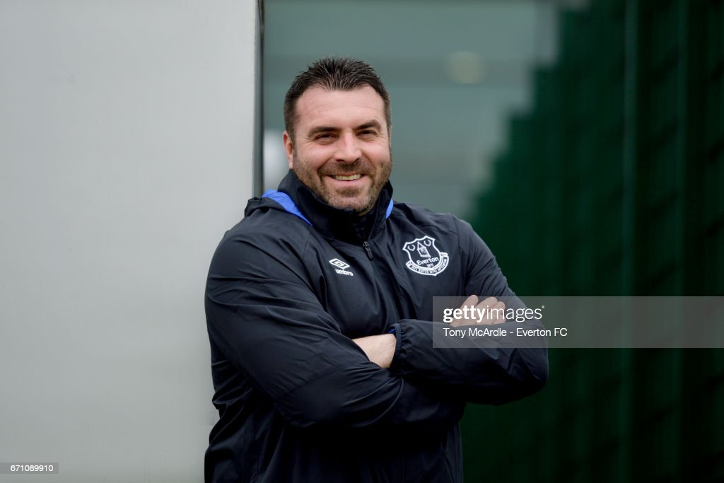 Everton U23 manager David Unsworth poses for a photo at USM Finch Farm on April 19, 2017 in Halewood, England.