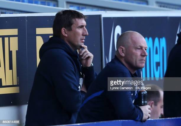 Everton Under 21 manager Alan Stubbs during the Professional Development League One Under 21 Play Off match at Goodison Park Liverpool