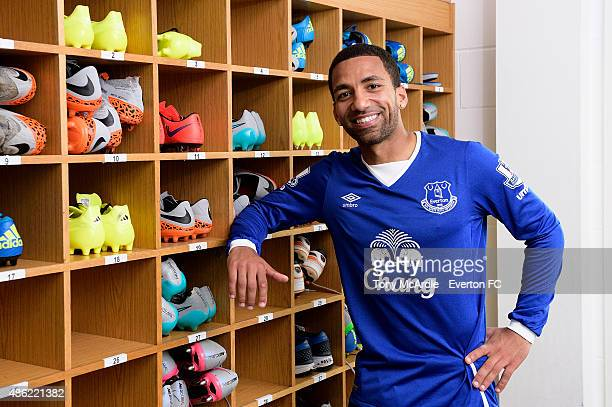 Everton unveil new signing Aaron Lennon at Finch Farm on September 2 2015 in Halewood England