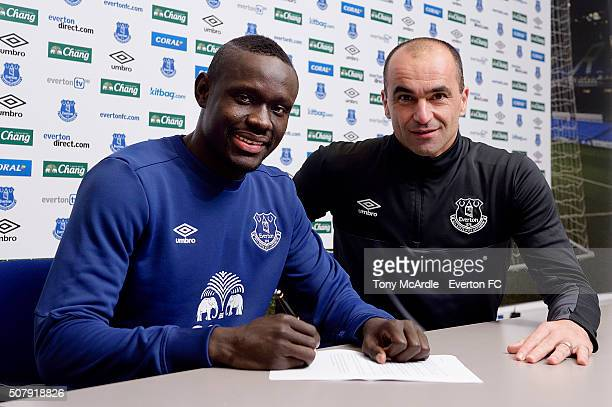Everton unveil new signing Oumar Niasse with manager Roberto Martinez at Finch Farm on February 1 2016 in Halewood England