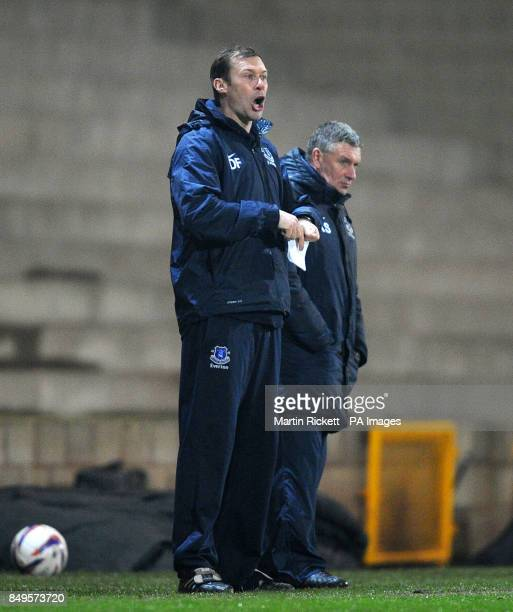 Everton youth team coach Duncan Ferguson with youth team manager Kevin Sheedy on the touchline