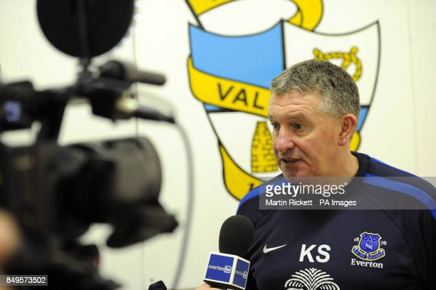 Everton youth team manager Kevin Sheedy is interviewed by the Everton camera crew after the game