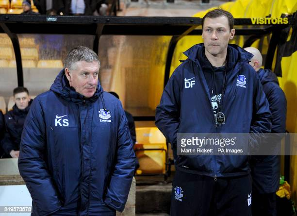 Everton youth team manager Kevin Sheedy with coach Duncan Ferguson on the touchline prior to kickoff