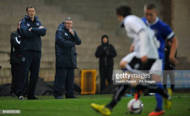 Everton youth team manager Kevin Sheedy with coach Duncan Ferguson during the FA Youth cup match at Vale Park Stoke on Trent PRESS ASSOCIATION Photo...