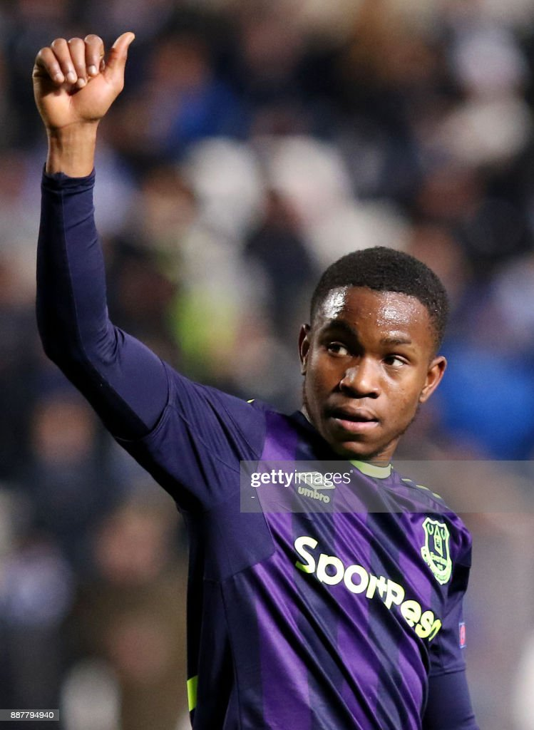 Everton's Ademola Lookman celebrates after scoring during the UEFA Europa League group stage football match between Apollon Limassol and Everton at the GSP stadium in the Cypriot capital Nicosia on December 7, 2017. /