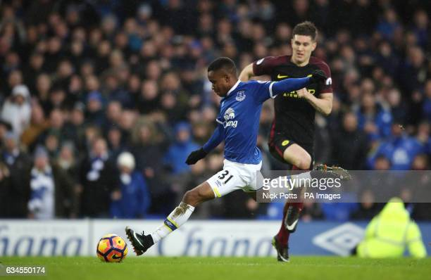 Everton's Ademola Lookman scores his side's fourth goal of the game