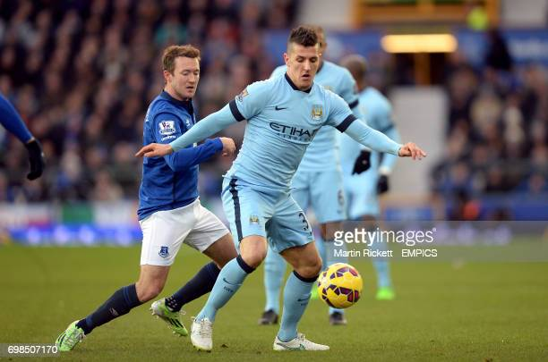 Everton's Aidan McGeady and Manchester City's Stevan Jovetic battle for the ball