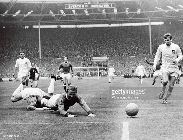 Everton's Alex Young goes down in the penalty area under the challenge of Sheffield Wednesday goalkeeper Ron Springett watched by Wednesday's Wilf...