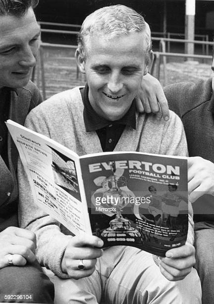 Everton's Alex Young reads the club's own magazine