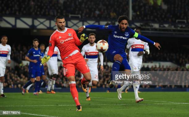 Everton's Ashley Williams collide with Olympique Lyonnais goalkeeper Anthony Lopes during the UEFA Europa League Group E match at Goodison Park...