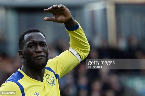 Everton's Belgian striker Romelu Lukaku reacts during the English Premier League football match between Burnley and Everton at Turf Moor in Burnley...