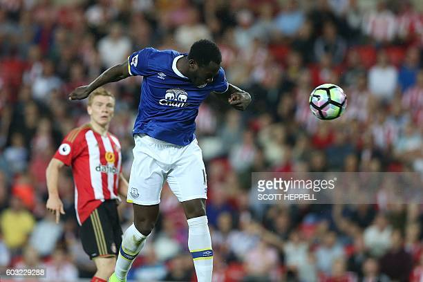 Everton's Belgian striker Romelu Lukaku scores his team's first goal during the English Premier League football match between Sunderland and Everton...