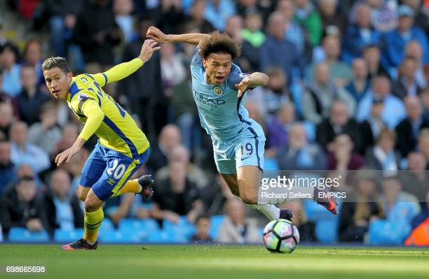 Everton's Bryan Oviedo fouls Manchester City's Leroy Sane