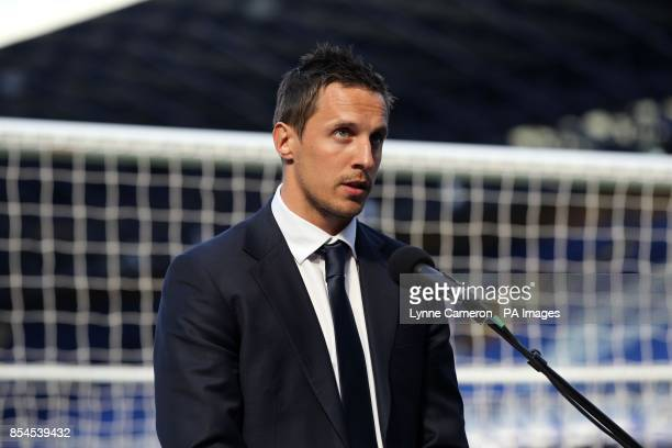 Everton's captain Phil Jagielka during the screening of the Hillsborough 25th Anniversary Memorial Service at Goodison Park Liverpool