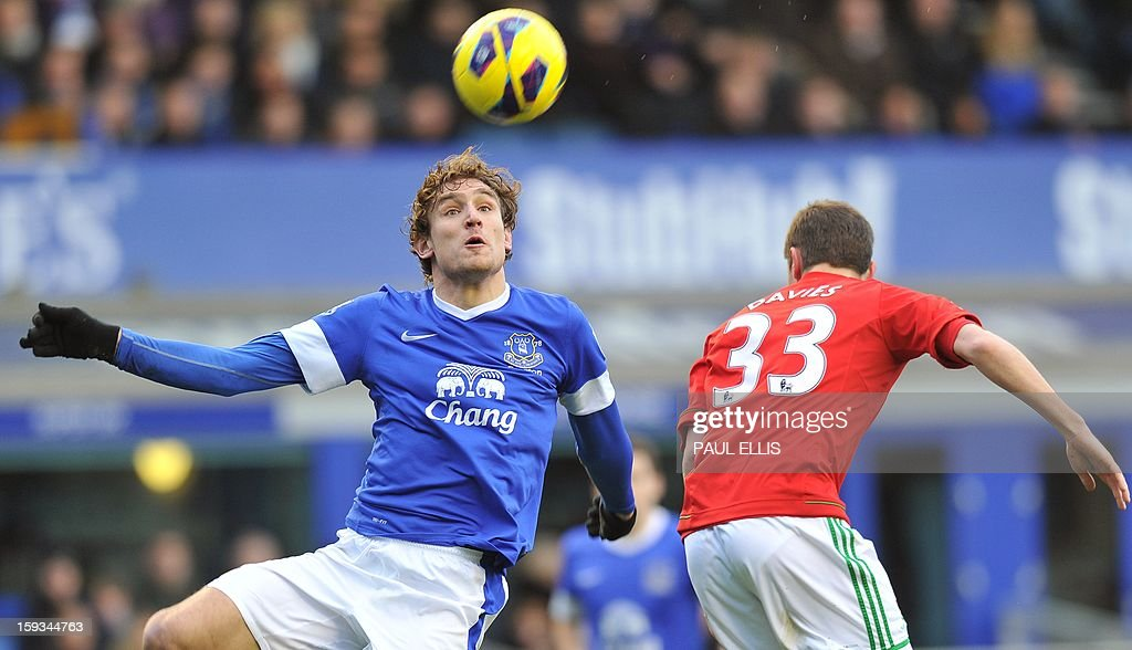 """Everton's Croatian striker Nikica Jelavic (L) and Swansea City's Welsh defender Ben Davies vie for the ball during the English Premier League football match between Everton and Swansea City at Goodison Park in Liverpool on January 12, 2013. AFP PHOTO/Paul ELLIS- RESTRICTED TO EDITORIAL USE. No use with unauthorized audio, video, data, fixture lists, club/league logos or """"live"""" services. Online in-match use limited to 45 images, no video emulation. No use in betting, games or single club/league/player publications."""