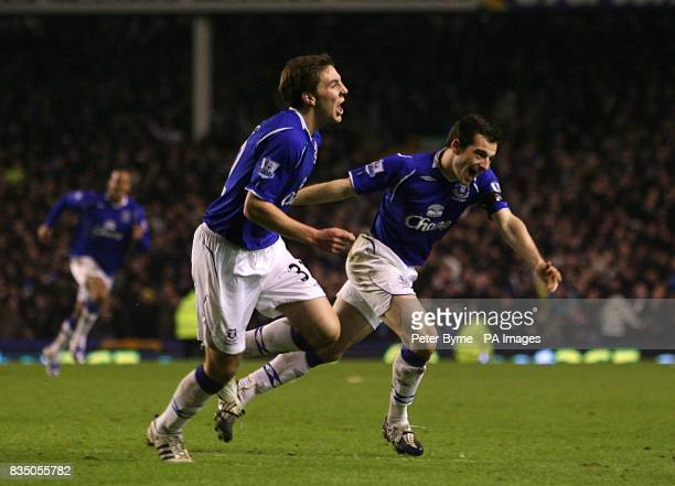 Everton's Dan Gosling celebrates scoring his sides first goal of the game with teammate Leighton Baines