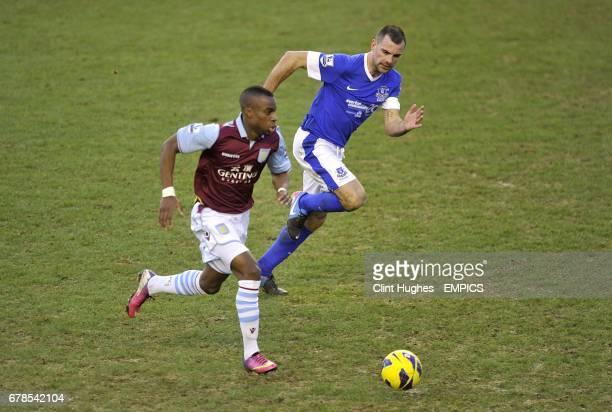 Everton's Darron Gibson and Aston Villa's Yacouba Sylla in action