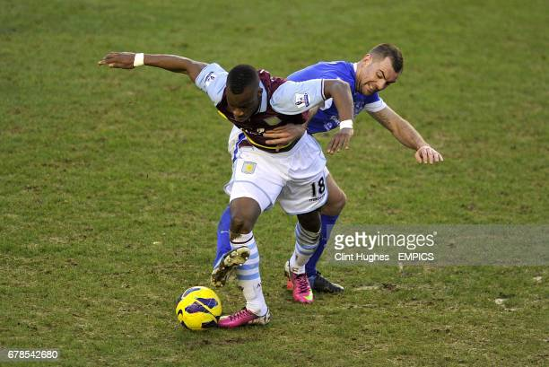 Everton's Darron Gibson and Aston Villa's Yacouba Sylla in action
