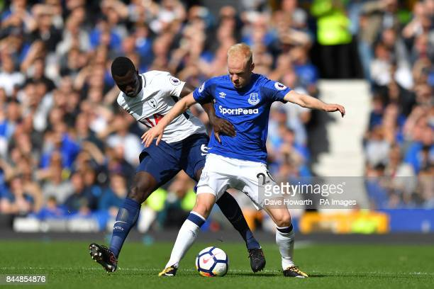 Everton's Davy Klaassen and Tottenham Hotspur's Davinson Sanchez battle for the ball and during the Premier League match at Goodison Park Liverpool