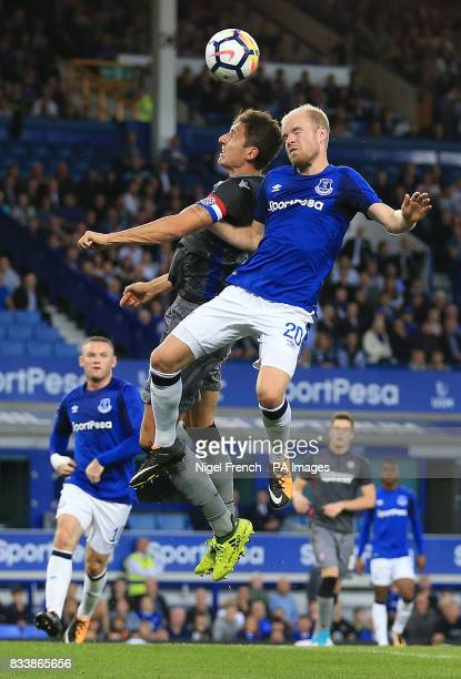 Everton's Davy Klaassen heads in the air during the UEFA Europa League PlayOff First Leg match at Goodison Park Liverpool