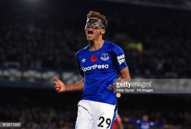 Everton's Dominic CalvertLewin celebrates scoring his side's second goal of the game during the Premier League match at Goodison Park Liverpool