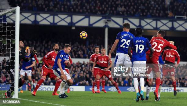 Everton's Dominic CalvertLewin scores his side's second goal of the game during the Premier League match at Goodison Park Liverpool
