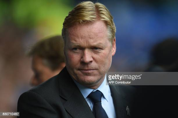 Everton's Dutch manager Ronald Koeman arrives ahead of the English Premier League football match between Everton and Stoke City at Goodison Park in...