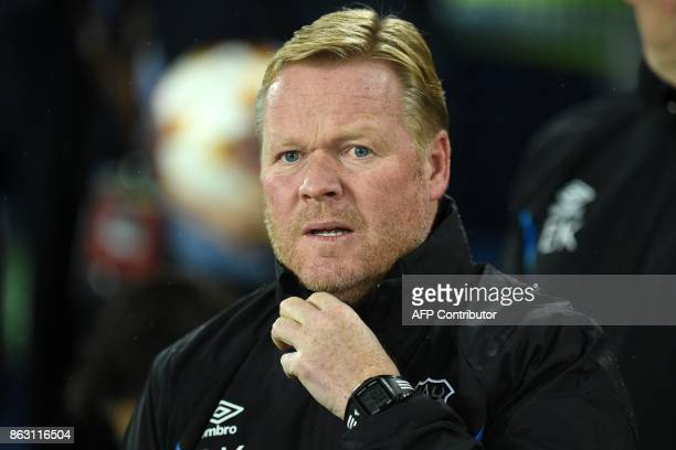 Everton's Dutch manager Ronald Koeman awaits kick off in the UEFA Europa League Group E match between Everton and Lyon at Goodison Park in Liverpool...