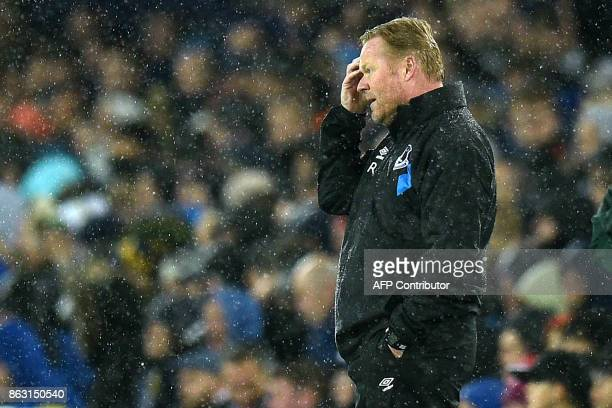 Everton's Dutch manager Ronald Koeman gestures on the touchline during the UEFA Europa League Group E match between Everton and Lyon at Goodison Park...