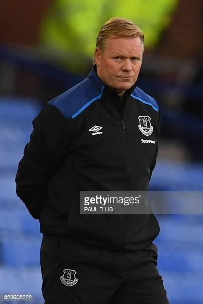 Everton's Dutch manager Ronald Koeman looks on during the UEFA Europa League third qualifying round Game 1 match between Everton and Ruzomberok at...