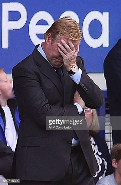 Everton's Dutch manager Ronald Koeman reacts during the English Premier League football match between Everton and Stoke City at Goodison Park in...