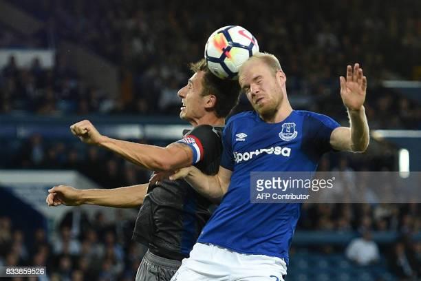 Everton's Dutch midfielder Davy Klaassen vies with Hajduk Split's Croatian defender Zoran Nizic during the UEFA Europa League playoff round first leg...