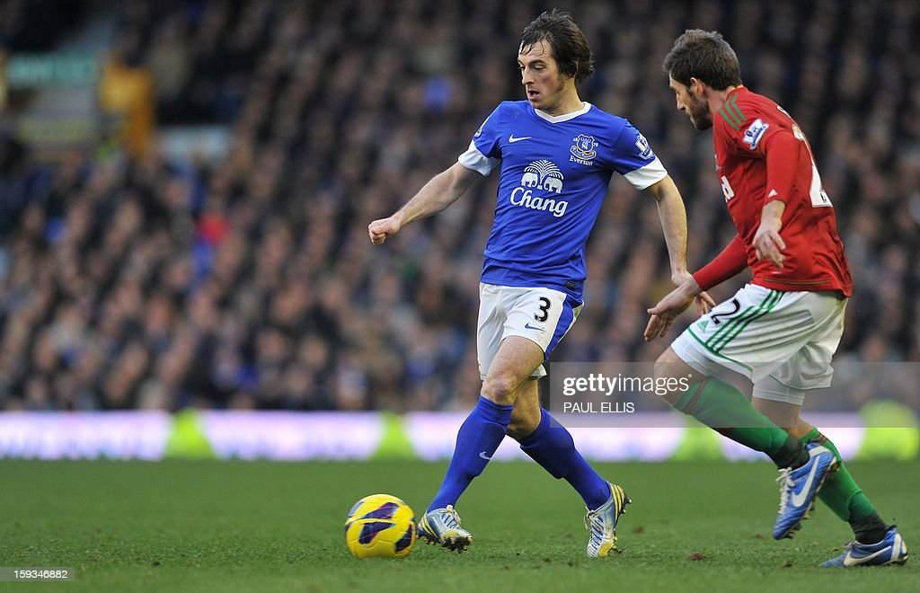 """Everton's English defender Leighton Baines (L) is challenged by Swansea City's Spanish defender Angel Rangel during the English Premier League football match between Everton and Swansea City at Goodison Park in Liverpool on January 12, 2013. AFP PHOTO/Paul ELLIS- RESTRICTED TO EDITORIAL USE. No use with unauthorized audio, video, data, fixture lists, club/league logos or """"live"""" services. Online in-match use limited to 45 images, no video emulation. No use in betting, games or single club/league/player publications."""