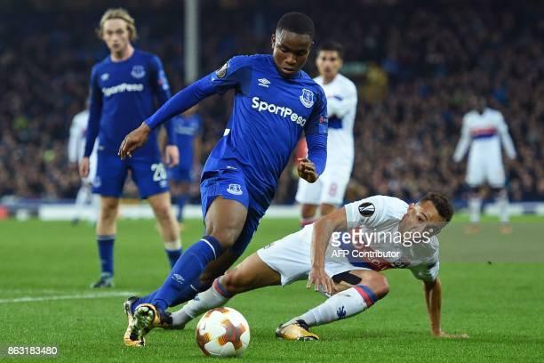 Everton's English striker Ademola Lookman vies with Lyon's Brazilian defender Fernando Marcal during the UEFA Europa League Group E match between...