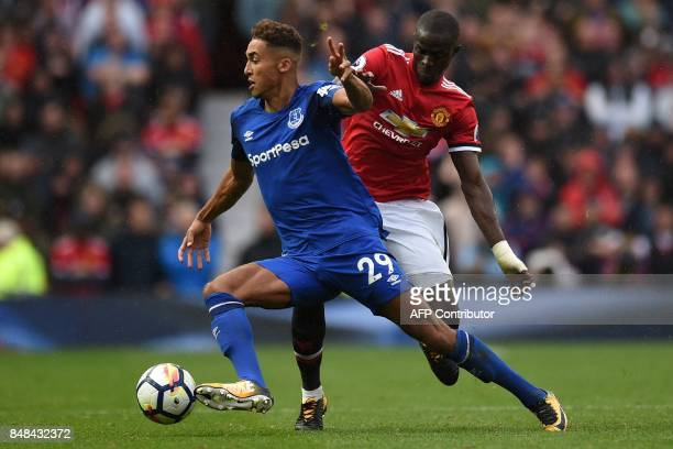 Everton's English striker Dominic CalvertLewin vies with Manchester United's Ivorian defender Eric Bailly during the English Premier League football...