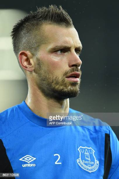 Everton's French midfielder Morgan Schneiderlin warms up ahead of the UEFA Europa League Group E match between Everton and Lyon at Goodison Park in...