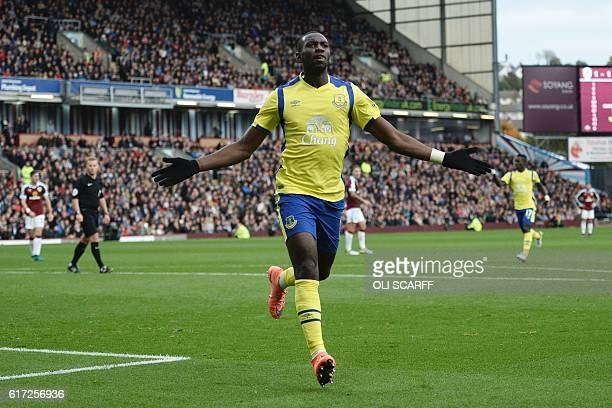 Everton's Frenchborn Congolese midfielder Yannick Bolasie celebrates scoring their first goal to equalise 11 during the English Premier League...
