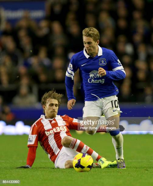 Everton's Gerard Deulofeu and Stoke City's Marc Muniesa battle for the ball during the Barclays Premier League match at Goodison Park Liverpool