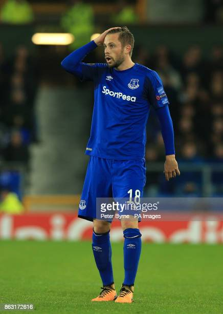 Everton's Gylfi Sigurdsson reacts during the UEFA Europa League Group E match at Goodison Park Liverpool PRESS ASSOCIATION Photo Picture date...
