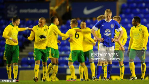 Everton's Harry Charsley shows his dejection after Norwich City's third goal