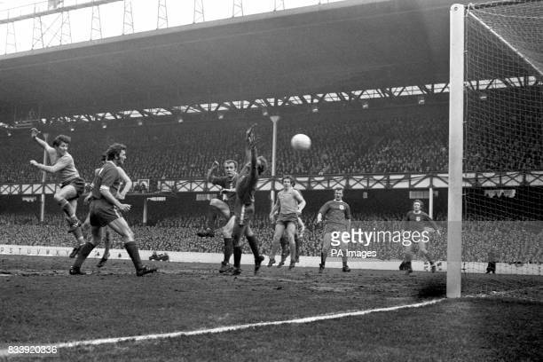Everton's Howard Kendall scores with a header during Everton's 5 goals win