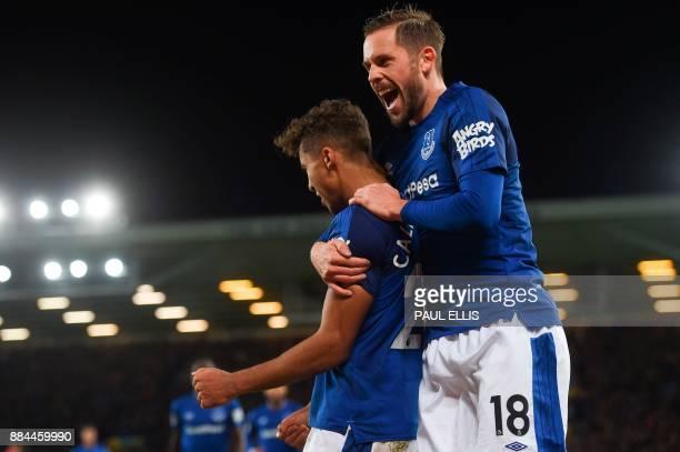 Everton's Icelandic midfielder Gylfi Sigurdsson celebrates after Everton's English striker Dominic CalvertLewin scored their second goal during the...
