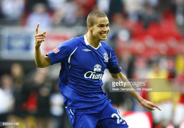 Everton's Jack Rodwell celebrates after team mate Phil Jagielka scored the winning penalty