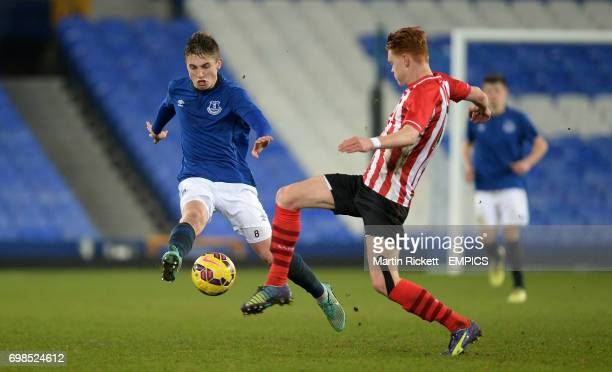 Everton's Jonjoe Kenny battles for the ball with Southampton's Will Wood
