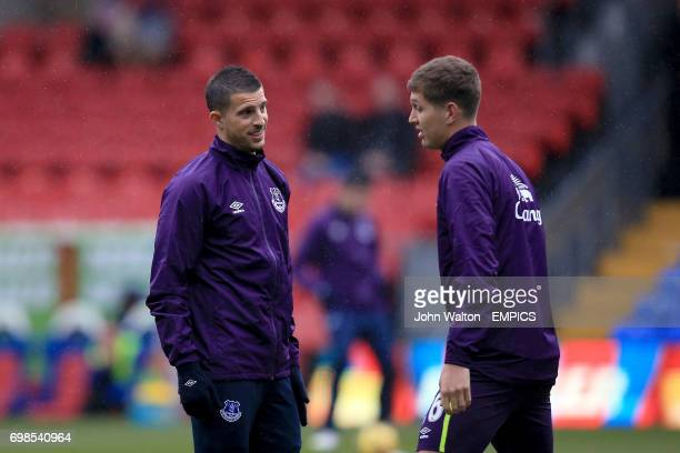 Everton's Kevin Mirallas and John Stones during the pre match warm up