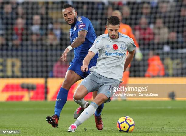 Everton's Kevin Mirallas and Leicester City's Danny Simpson during the Premier League match between Leicester City and Everton at The King Power...