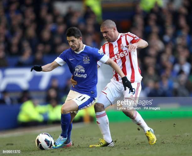 Everton's Kevin Mirallas and Stoke City's Jonathan Walters battle for the ball