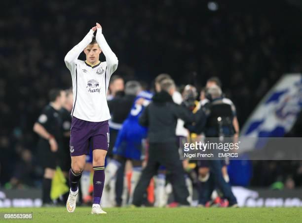Everton's Kevin Mirallas applauds fans at the end of the game